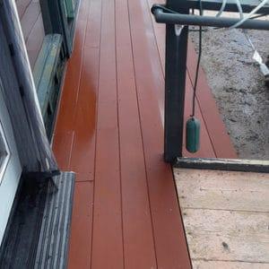 Wood deck after pressure washed