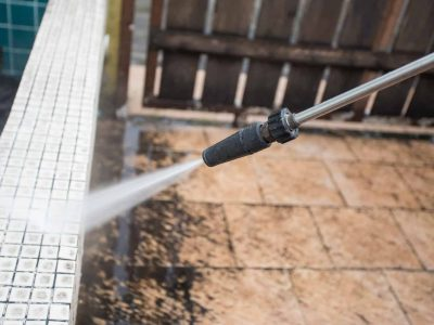 outdoor floor cleaning with high pressure water