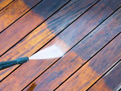 pressure washing wood decking