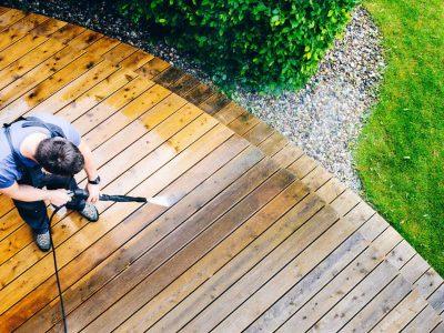 pressure washing wooden decking